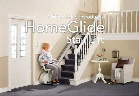 woman sitting in a homeglide stair lift