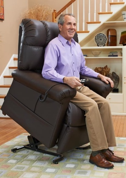 man happy rising with lift chair