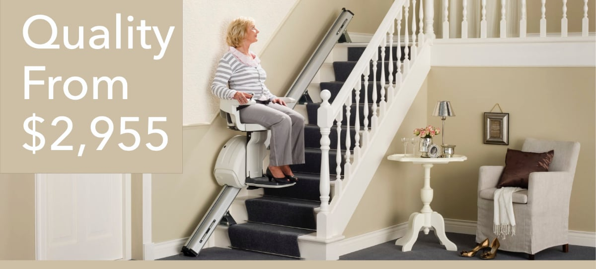 woman using homeglide stairlift