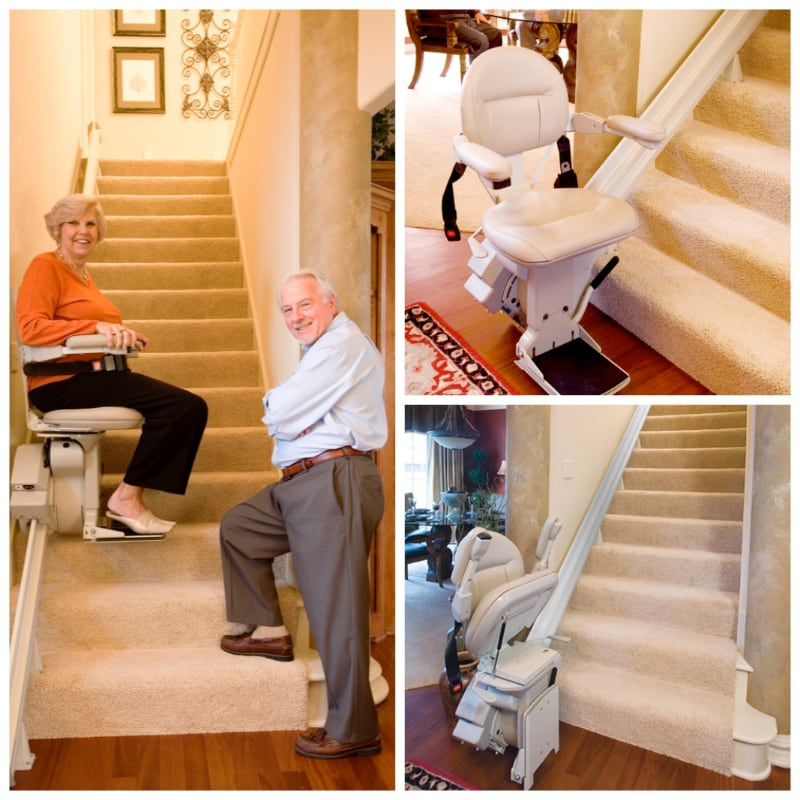 collage of straight Elite Bruno stair lift