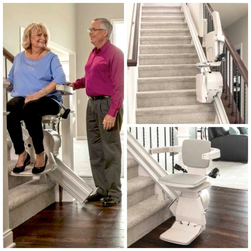 collage of staright stair lift images