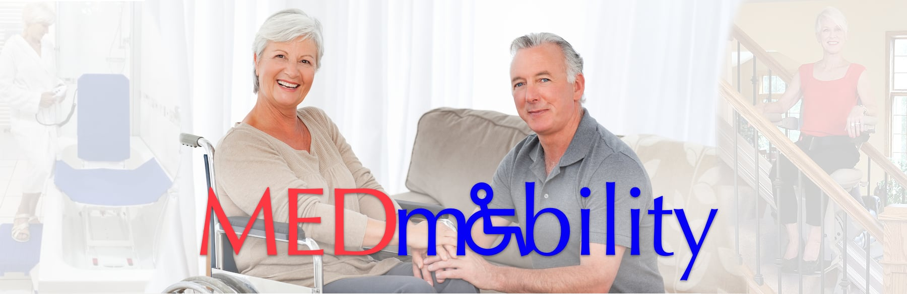 Couple with wheelchair at home