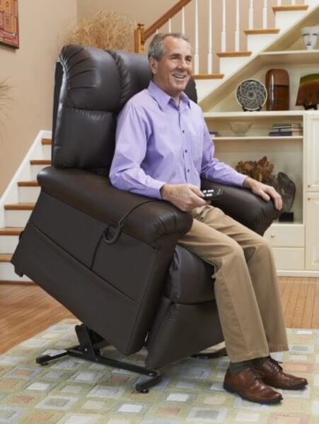 man being lifted with a cloud power recliner lift chair