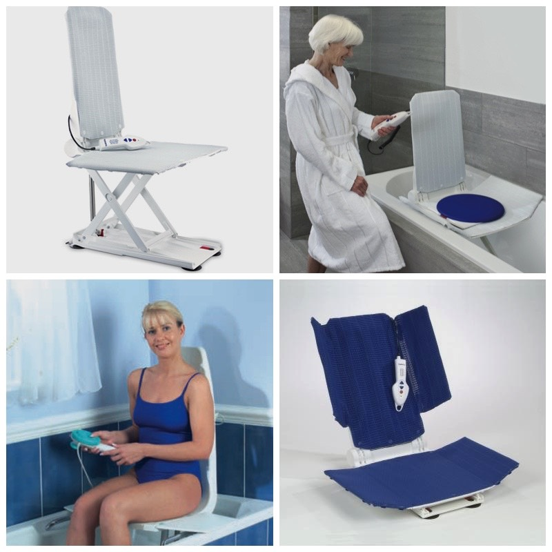 collage of bath lifts in use
