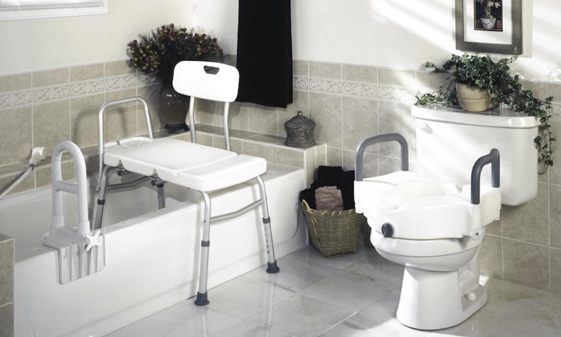 bathroom display of safety equipment
