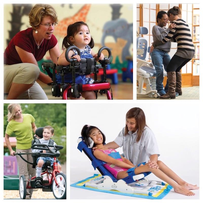 collage of children using rehab equipment