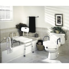 bathroom with bath safety items