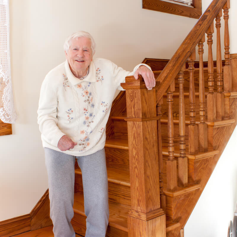 grandma coming down stairs