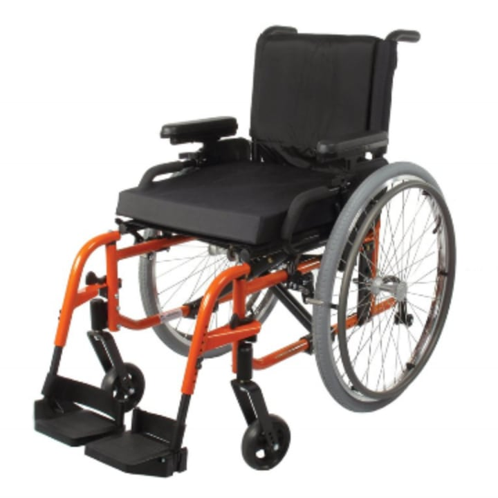 orange folding wheelchair